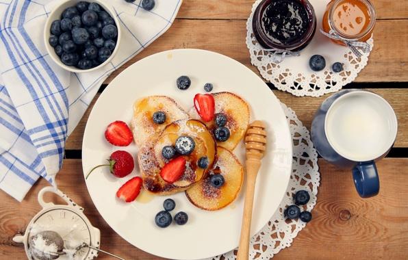 Picture food, milk, blueberries, strawberry, pancakes, dessert, food, dessert, milk, pancakes, blueberries, strawberries