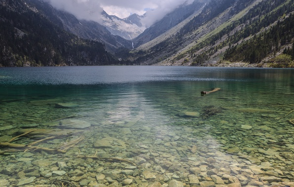 Picture transparency, mountains, nature, lake, stones