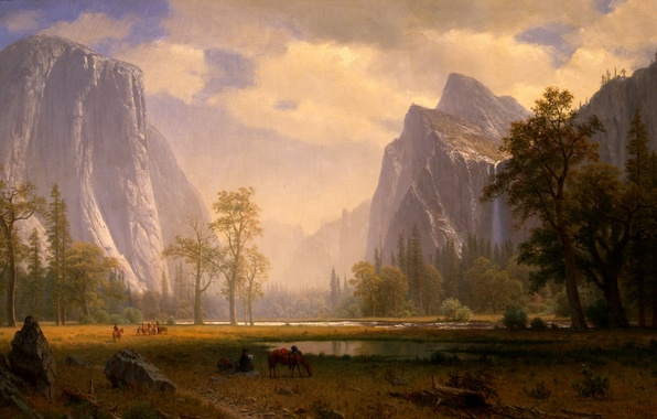 Picture picture, painting, painting, Albert Bierstadt, Looking Up the Yosemite Valley