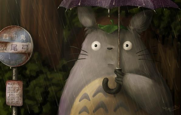Picture rain, Hayao Miyazaki, My neighbor Totoro, art, Totoro, fraffrog