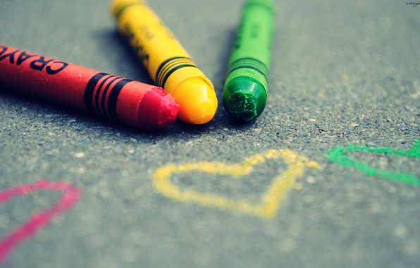 Picture asphalt, color, macro, heart, figure, focus, pencils