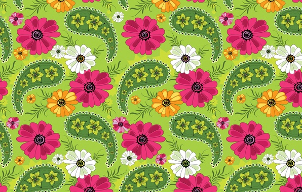 Picture flowers, pattern, texture, petals, ornament, green background