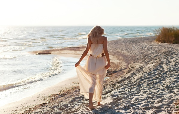 Picture sand, sea, beach, freedom, girl, nature, background, Wallpaper, mood, dress, blonde, belt, widescreen, full screen, ...