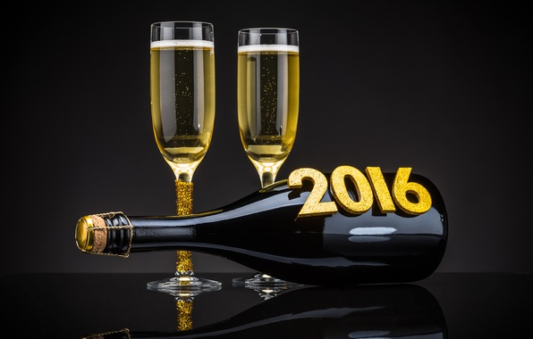 Picture bottle, New Year, glasses, golden, champagne, New Year, Happy, champagne, 2016