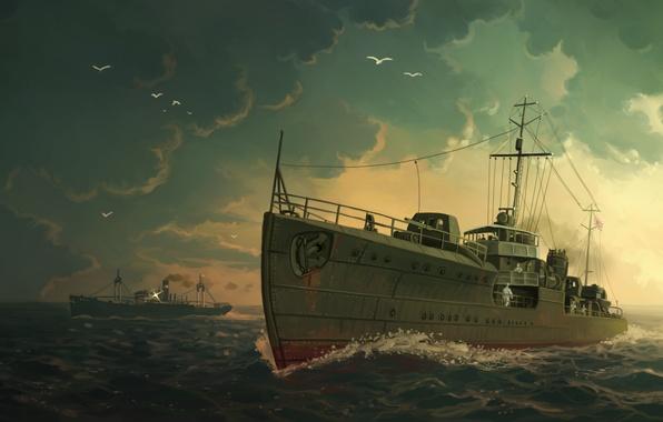 Picture sea, the sky, clouds, ship, art, Akikaze