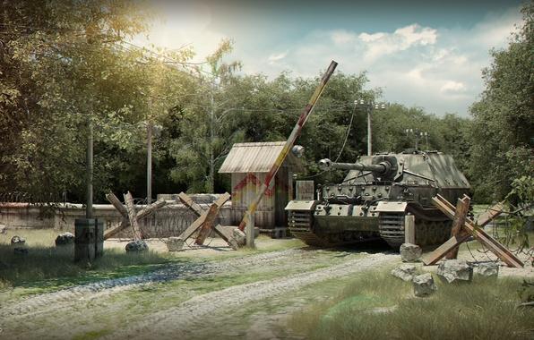 Picture forest, tank, the barrier, Ferdinand, Ferdinand, Elefant, custom, self-propelled gun