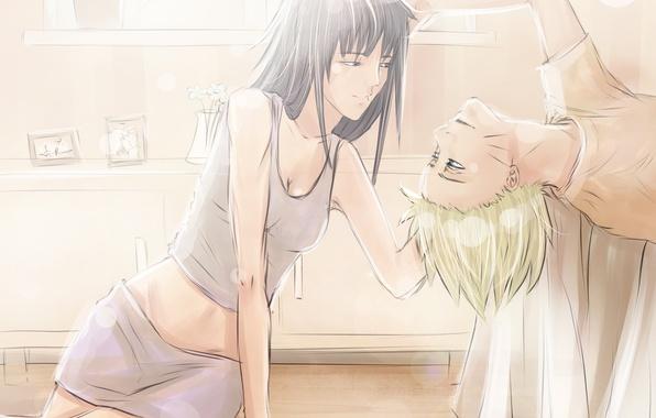 Picture girl, anime, art, guy, Naruto, Naruto, Naruto Uzumaki, Hyuuga Hinata, iddrif