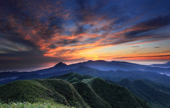 Picture forest, the sky, clouds, sunset, mountains, orange, nature, hills, view, height, The evening, panorama, haze, ...