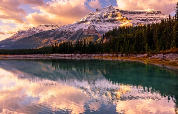 Picture forest, sunset, mountains, lake, Banff National Park, Alberta, Canada