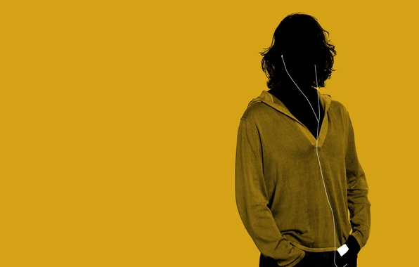 Photo wallpaper style, yellow, minimalism, headphones, guy