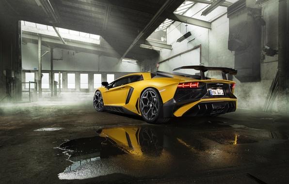 Picture yellow, Lamborghini, supercar, spoiler, back, Aventador, exhausts, Novitec, Torado, LP 750-4