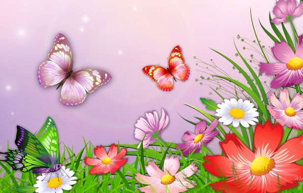 Picture grass, butterfly, flowers, nature, figure, vector