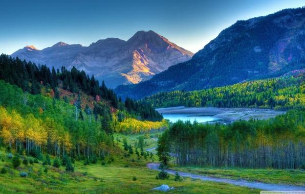 Picture landscape, table, Wallpaper, mountain, autumn, the desktop
