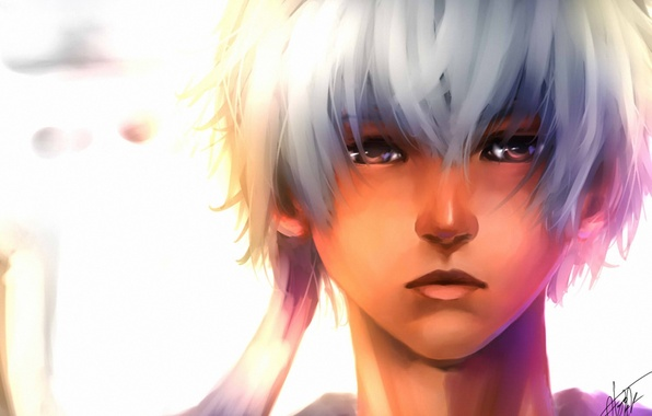 Picture face, background, art, guy, white hair, gintama, sakata gintoki, sushi-master901
