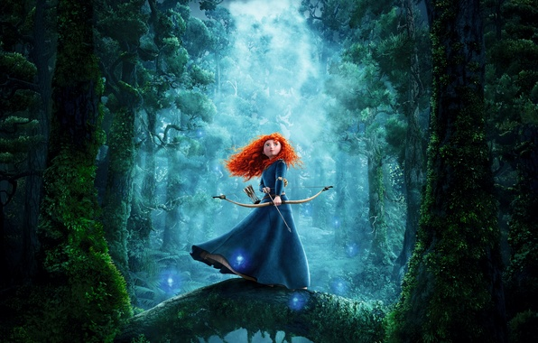 Picture forest, girl, bow, arrow, red, brave, merida
