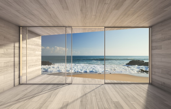 Picture sea, glass, light, wall