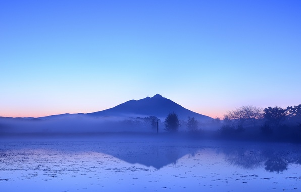 Picture trees, fog, lake, reflection, mountain, the evening, Japan, haze, blue sky, pink sunset