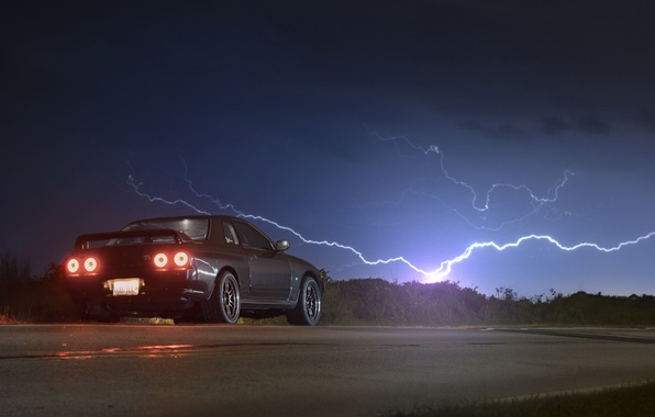 Picture road, the sky, lightning, back, Nissan, GT-R, R32