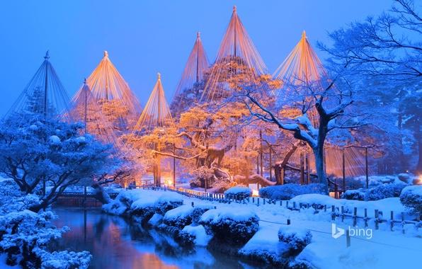 Picture winter, snow, Park, Japan, Kenroku-EN, Kanazawa