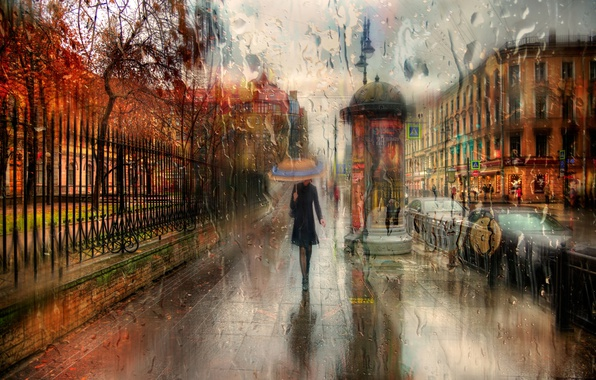 Picture autumn, girl, drops, the city, rain, umbrella, walk, Russia, St. Petersburg