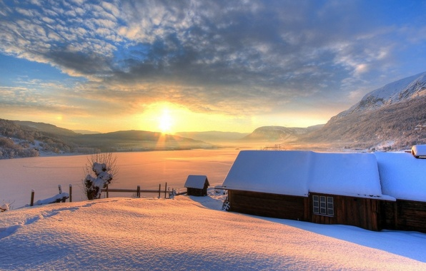 Picture winter, the sky, the sun, snow, mountains, nature, house, background, Wallpaper, day, wallpaper, house, nature, …