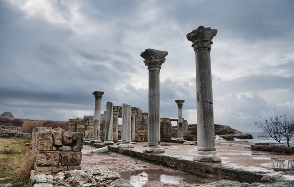Picture the sky, clouds, trees, the ruins, after the rain, columns, Ukraine, the ancient city, Hersonissos