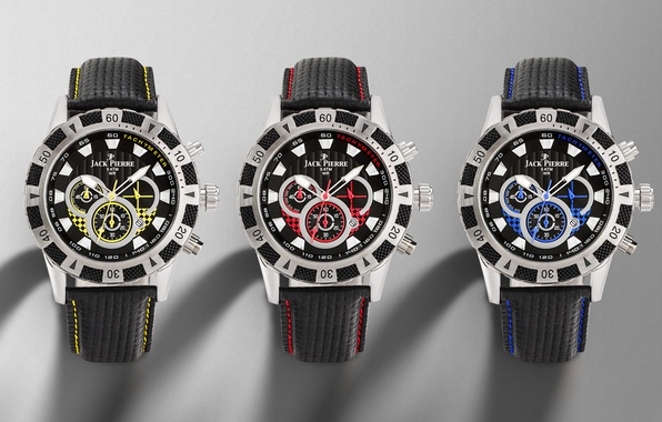Picture metal, red, yellow, blue, three, leather, Watch
