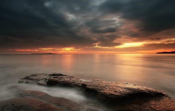 Picture sea, the sky, sunset, orange, clouds, stones, shore, England, the evening, UK, calm