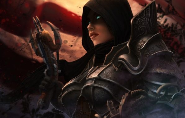 Picture girl, art, hood, diablo, crossbow, Demon Hunter