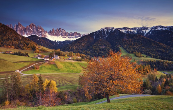 Picture autumn, snow, trees, mountains, home, Alps, Italy