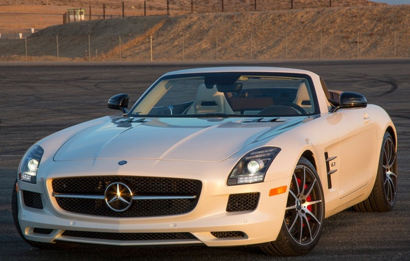 Picture white, Roadster, Mercedes-Benz, supercar, Mercedes, AMG, SLS