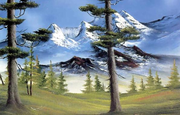 landscape mountains trees. photo wallpaper picture branch landscape mountains snow stump trees