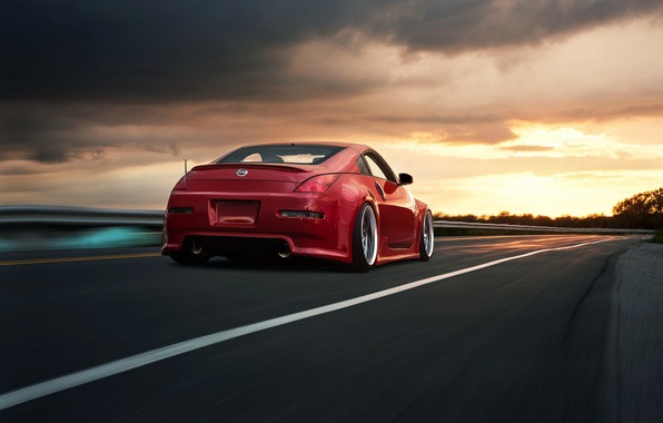 Picture speed, red, Nissan, road, 350Z, rear