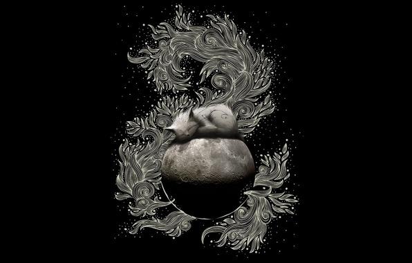 Picture pattern, the moon, black, Koshak