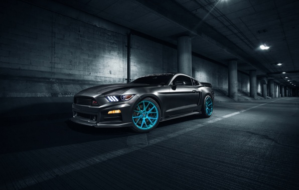 Picture Mustang, Ford, Blue, Front, Vossen, Wheels, Roush X