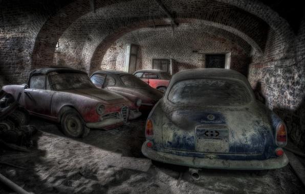 Photo wallpaper scrap, machine, garage