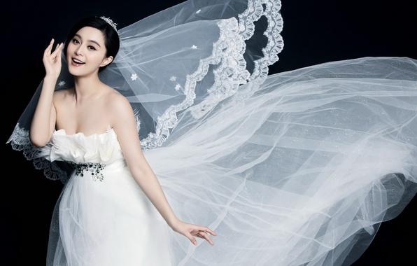 Wallpaper girl, happiness, smile, white, Asian, wedding dress images ...