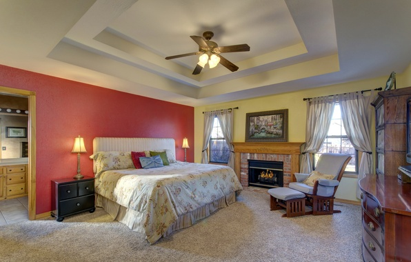 Picture design, room, bed, interior, the ceiling, fireplace, bedroom