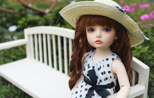 Picture flowers, hair, doll, polka dot, shop, hat, bow, blue eyes, doll, BJD