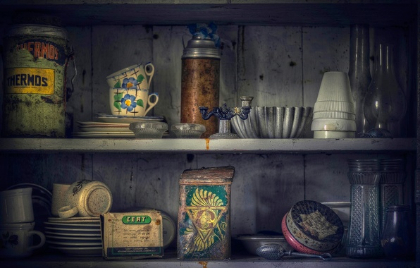 Picture banks, shelves, thermos, flask