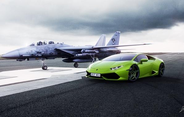 Picture Lamborghini, Green, Fighter, Lamborghini, Runway, Green, Supercar, Supercar, Fighter, Huracan, Huracan, LP610-4, Runway