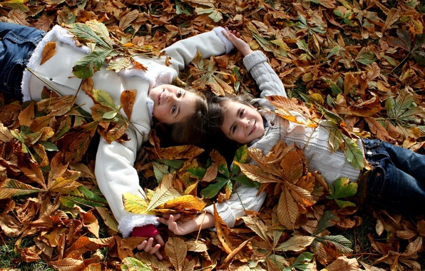 Picture autumn, leaves, joy, happiness, nature, children, mood, child, boy, girl, smile