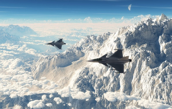 Picture aviation, mountains, fighters, Can JAS 39 Gripen