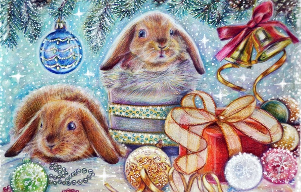 Picture winter, animals, snow, holiday, gift, toy, tree, new year, hare, Christmas, bell
