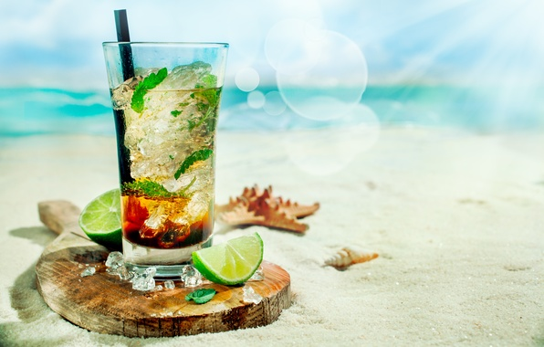 Picture ice, sea, beach, cocktail, lime, tube, shell, ice, beach, mint, sea, cocktail, lime, Mojito, starfish, …