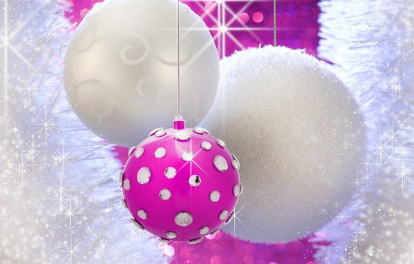 Picture white, pink, holiday, Shine, new year, sequins, rhinestones, white, new year, pink, Christmas balls
