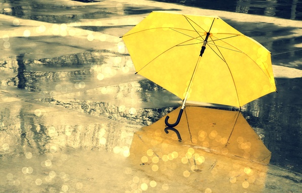 Picture wet, water, drops, yellow, glare, reflection, umbrella, background, rain, umbrella, different, widescreen, full screen, HD …