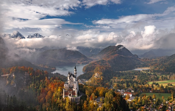 Picture autumn, the sky, clouds, trees, mountains, lake, castle, Germany, Bayern, Neuschwanstein