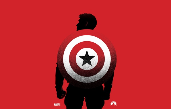 Picture red, background, silhouette, shield, marvel, comic, Captain America, The first avenger, Steve Rogers, Captain America: …