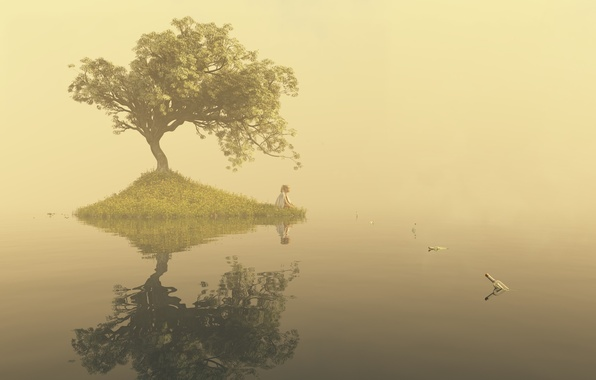 Picture water, girl, fog, lake, surface, loneliness, tree, art, bottle, island, notes